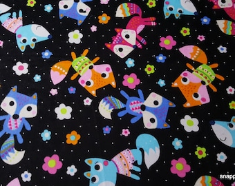 Flannel Fabric - Fox and Flowers on Black - By the Yard - 100% Cotton Flannel