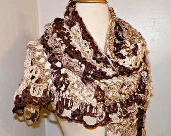 Oversized Shawl Triangle Scarf Brown Ivory Crochet Oversized Lavender Boho Festival Cowl Wrap Scarf Wrap With Brooch