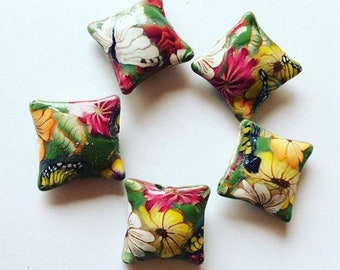 5 x Butterfly Floral Polymer Clay Pillow Beads 20mm