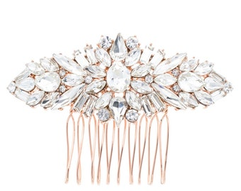 Wedding hair comb, rose gold hair comb, rhinestone hair comb, bridal hair comb, hair comb, rose gold