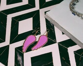 Angel Wing Earrings, Wing Earrings, Purple Earrings, Statement Earrings, Fashion Earrings, Acrylic Earrings
