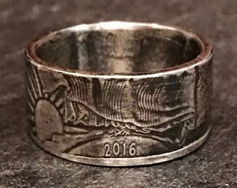 American Silver Eagle Coin Ring .999 Silver