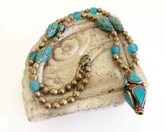 Tibetan Bead Necklace, Tibetan and African Bead Necklace, Tibetan Turquoise Necklace, Ethnic Necklace, Turquoise Necklace, Free Shipping