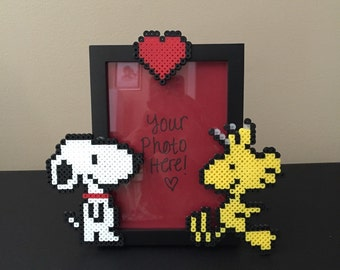 Snoopy and Woodstock Picture Frame/Pixel Bead Art/Wedding/Housewarming/Birthday Gift