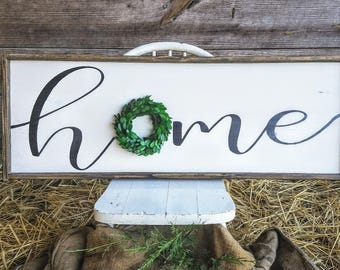 Large Home sign with preserved boxwood wreath, Farmhouse Decor, Rustic Decor, Sign with wreath accent, Home sign