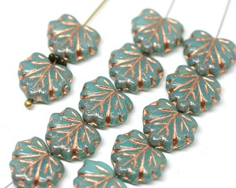 Opal Green Czech glass leaf beads Rose Gold inlays Green Maple leaves Green leaf bead - 11x13mm - 10Pc - 2494