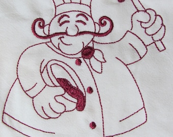 chef mixing batter embroidered tea towel