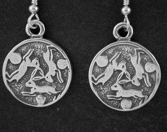 Sterling Silver Bunny Rabbit earrings on Heavy Sterling Silver French Wires