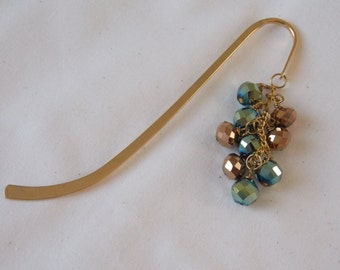 Bookmarker Green and Brown Beaded Gold Bookmarker  BM7