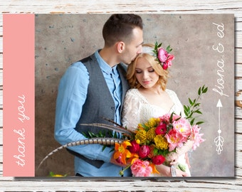 Thank you printable wedding card - with photo - arrow/pink