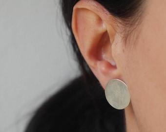 Round big earrings disk stud earrings sterling silver earrings geometric studs minimalist earrings geometric jewelry - amejewels