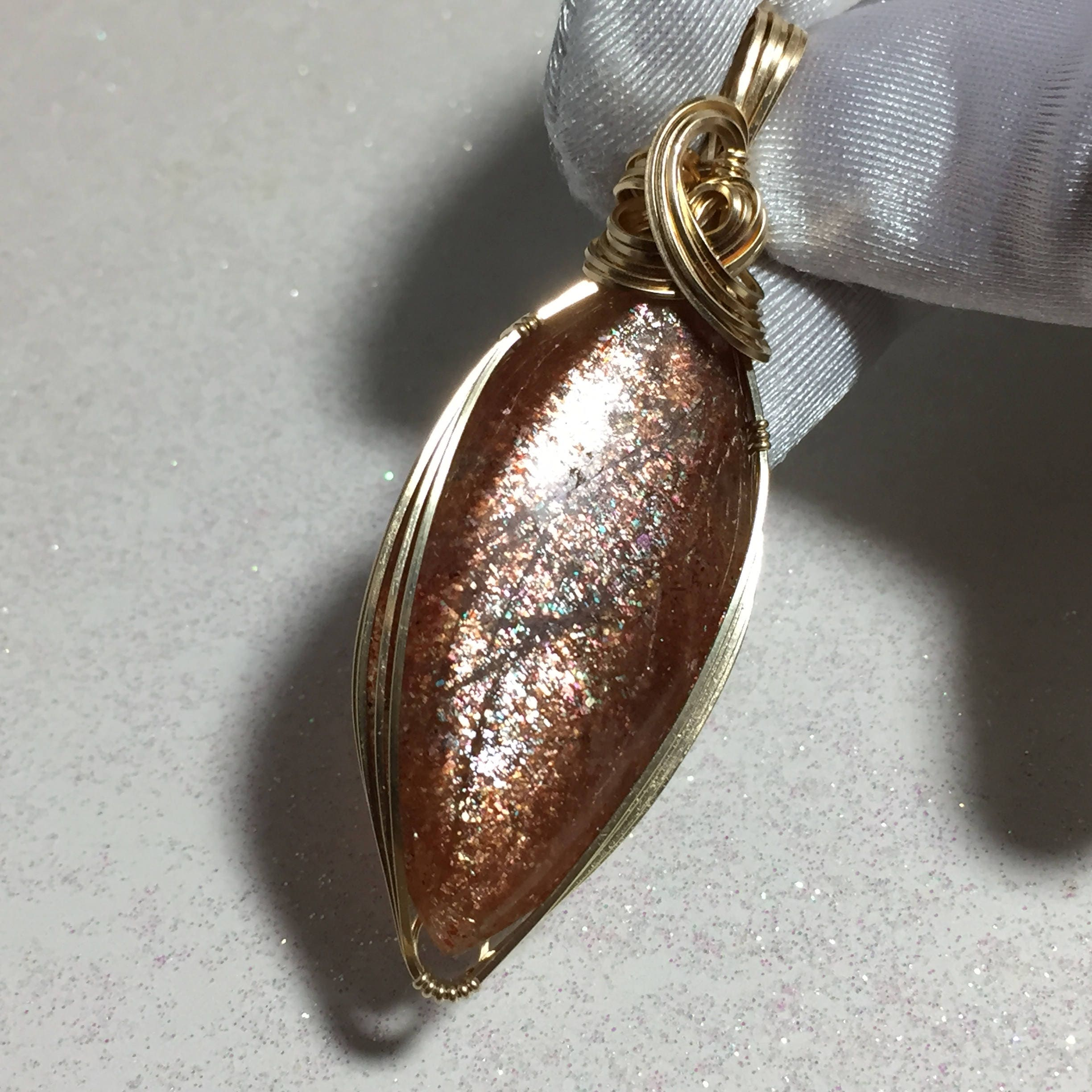 silver crystal pendant goethite precious feldspar semi sunstone teardrop genuine heart products sterling cabochon