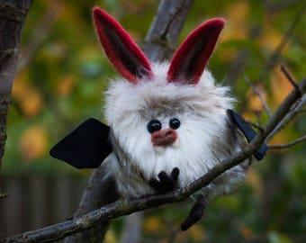 AZALEA-  Plush Bat, OOAK Bat Soft Sculpture, Fibre Art, Plush, Needle felting, Halloween Plush