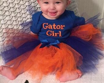 UF, Florida Gators, Florida, Gators, bodysuit, baby shower gift, new baby gift, baby girl clothes, baby tutu, orange, blue, baby headband