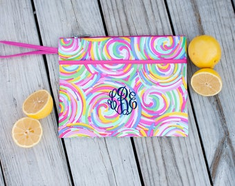 Summer Sorbet Monogrammed Zip Pouch, Monogram Cosmetic Bag, Personalized Wet Bag, Makeup Bag, Accessory Bag, Bridesmaid Gift, Wedding Gift