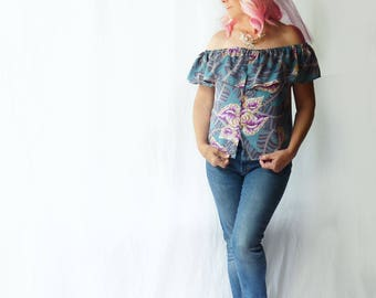 Off shoulder Hawaiian shirt, size medium large, OOAK, summer, upcycled mens shirt, ruffle top, boho, teal, purple, gypsy, hippie, festival