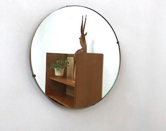 Vintage Small unframed round Wall Mirror 38cm diameter