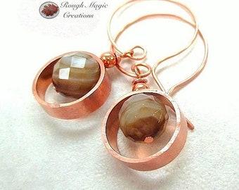 Earthy Gemstone Earrings, Copper Earrings, Brown Earrings, Botswana Agate Stone, Abstract Geometric Ring Drops, Boho Gift for Women E437