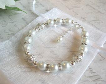 Pearl and Rhinestone Wedding Bracelet/Bride or Bridesmaid Bracelet/Wedding Jewelry/Bridesmaid Jewelry/Pearl Bridal Bracelet
