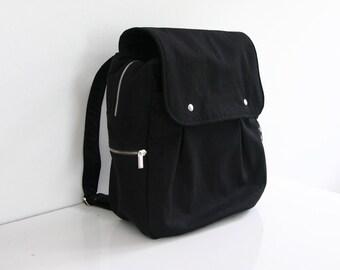 SALE - Black Rucksack / Backpack / Diaper bag / Canvas / School bag / Travel bag / Carry on / Men / Zipper Pockets - Zac