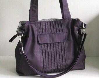 Sale - Deep Purple Canvas Bag, tote, messenger bag, crossbody bag, shoulder bag, diaper bag, stylish - CARRIE