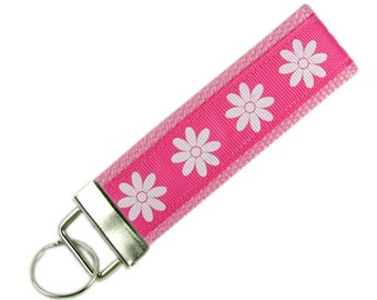 Personalized Key Chain / Key Fob Daisies on Pink With Optional Initials