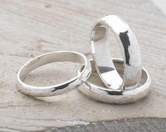 Handmade, Sterling Silver 925 Smooth and Hammered Rings (Set of 3)