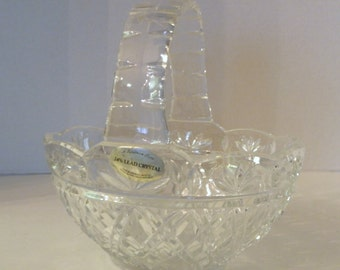 Crystal Glass Oval Basket with Handle Easter Candy Bowl