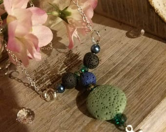 Aromatherapy Customized Double Lava Stone Essential Oil Diffuser Necklace Choice 4ML or Two 2ML Bottles of Essential Oil, Healing Energy
