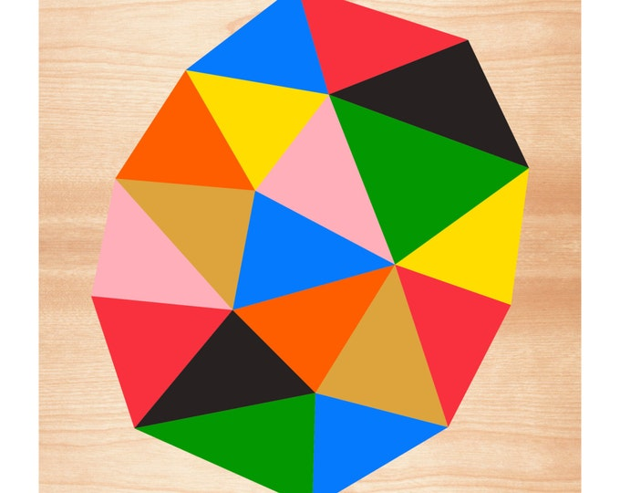After Eames, Geometric Art Print, Mid-Century Modern, Abstract, Triangles, Facets