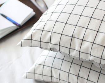 Check Pillow Case, Grey Check Pillow Case