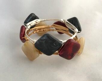 Three StoneWire Wrapped Bangle Bracelets Imitation Acrylic Gemstone Bangle  Stackable Bangles *Bourbon and Boweties Inspired*