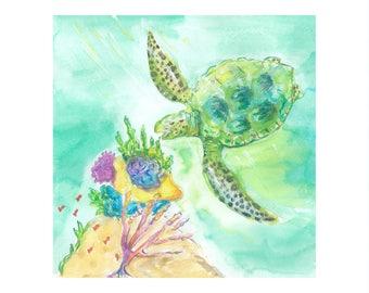 Green Sea Turtle Grabbing A Snack - Watercolor Print with white border - Beach House Decor