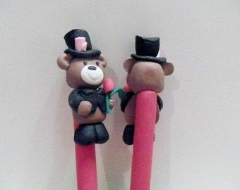 New Cute Polymer Clay Fimo Wedding Groom Teddy Bear Pen
