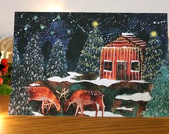 Christmas Greetings Card- Log Cabin