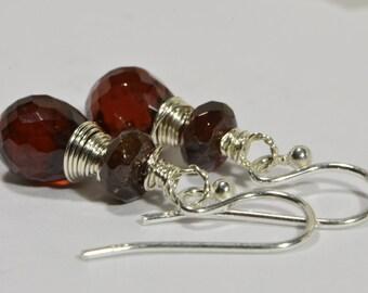 Birthstone January Garnet Earrings Sterling Silver Handmade Jewelry Red Garnet Jewelry Handmade Earrings