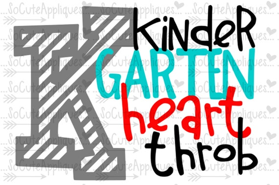 Svg Dxf Eps Cut File Kindergarten Heart Throb Back To