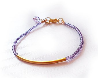 Purple Gold Bar Bracelet,  Dainty Gold Purple Bracelet, Gift for Her under 20, Llilac and Gold Friendship Bracelet