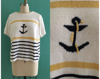 vintage 80's white nautical sweater // novelty anchor knit top