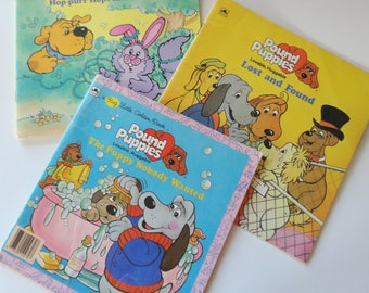 1 Set Vintage Books, 2 Pound Puppies The Puppy Nobody Wanted, Lost and Found, & Purr-tenders Hop-Purr Hops Into Trouble, 80s Hallmark, Tonka