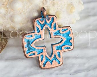 25%OFF Greek Cross Pendant, Cross Charm, Rose Gold Blue patina copper, 25mm Rose Gold Greek metal casting Cast Charm DIY TH304 - 1 pc