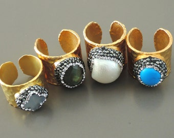 Statement Ring - Gold Ring - Gemstone Ring - Turquoise - Labradorite - Pearl - Crystal Ring - Band Ring - handmade jewelry