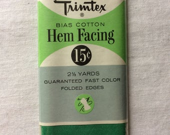 """Vintage New Wide Green Cotton Hem Facing Trim 2"""" wide x 2-1/2 yards long by Trimtex"""