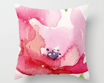 """Flower Pillow, Abstract Floral Pillow, Red, Pink, Watercolor, Painting Art, """"Itsy Bitsy Blossoms 5 """" Original Kathy Morton Stanion  EBSQ"""