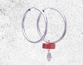 Silver Hoop Earrings with Coral and Hamsa -  Circle Earrings, Hoop Earrings, Rough Stone Earrings, Asymmetrical Earrings