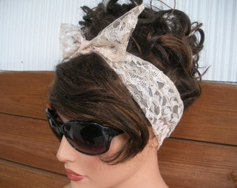 Womens Headband Lace Dolly Bow Headband Women Fashion Accessories Women Head scarf Lace Headwrap in Beige - Choose color
