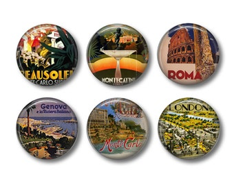 Old Travel Poster pinback button badges or fridge magnets, fridge magnet set