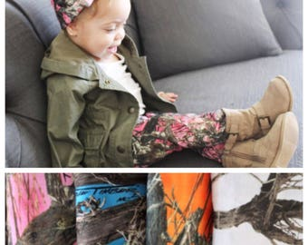 Pink and camouflage print baby legging and headband set, pink camo baby girl pants outfit