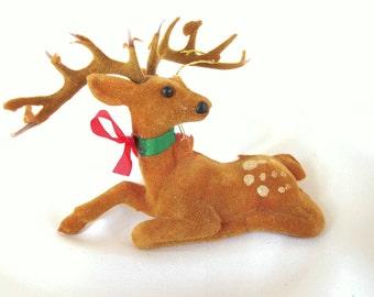 Vintage Christmas Ornament, Flocked Deer Ornament