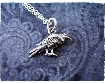 Tiny Silver Raven Necklace - Sterling Silver Raven Charm on a Delicate Sterling Silver Cable Chain or Charm Only